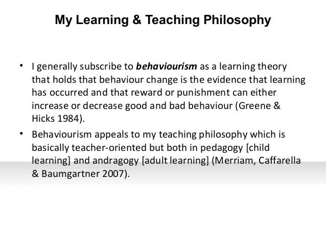 Bmcc Early Childhood Center My Teaching And Learning Philosophy Statement