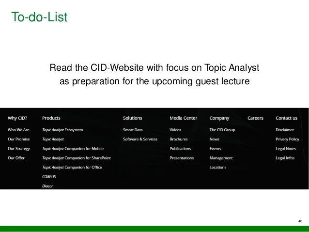 Enterprise Applications Of Text Intelligence Lecture Slides