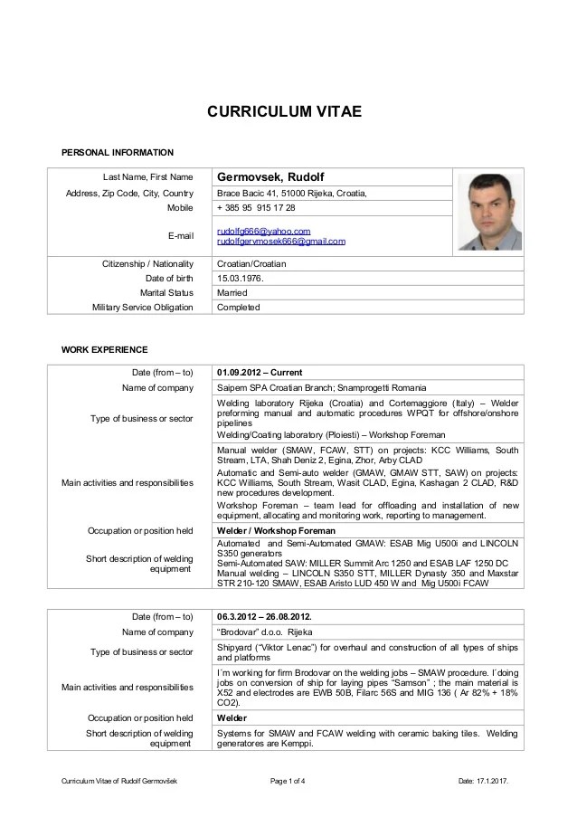 cv english country