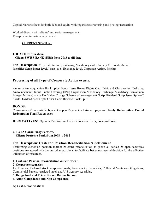 How To Write A Resume For A Banking Job 14 Steps With Resume Recon And Settlement New