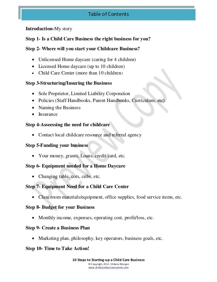 Sample Business Plan Daycare | Cv Writing What To Include