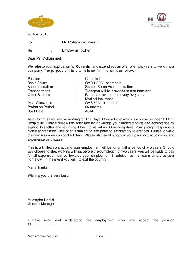 Employment Contract Termination Letter Free Sample Letters Offer Letter The Royal Riviera Hotel Doha