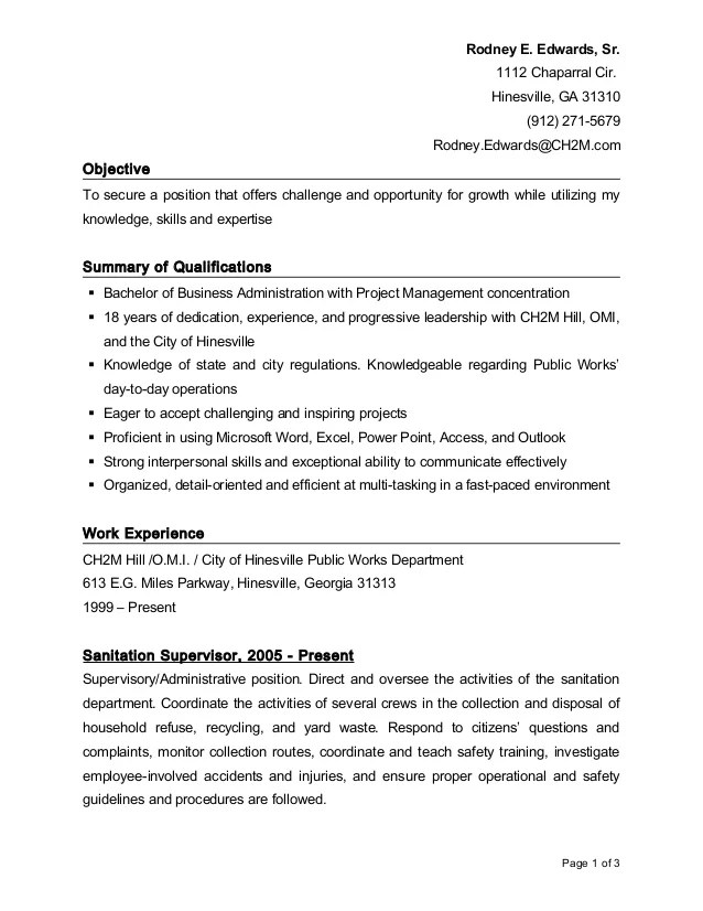 resume objective or not