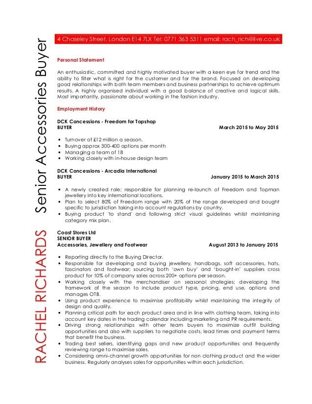 Senior buyer resume