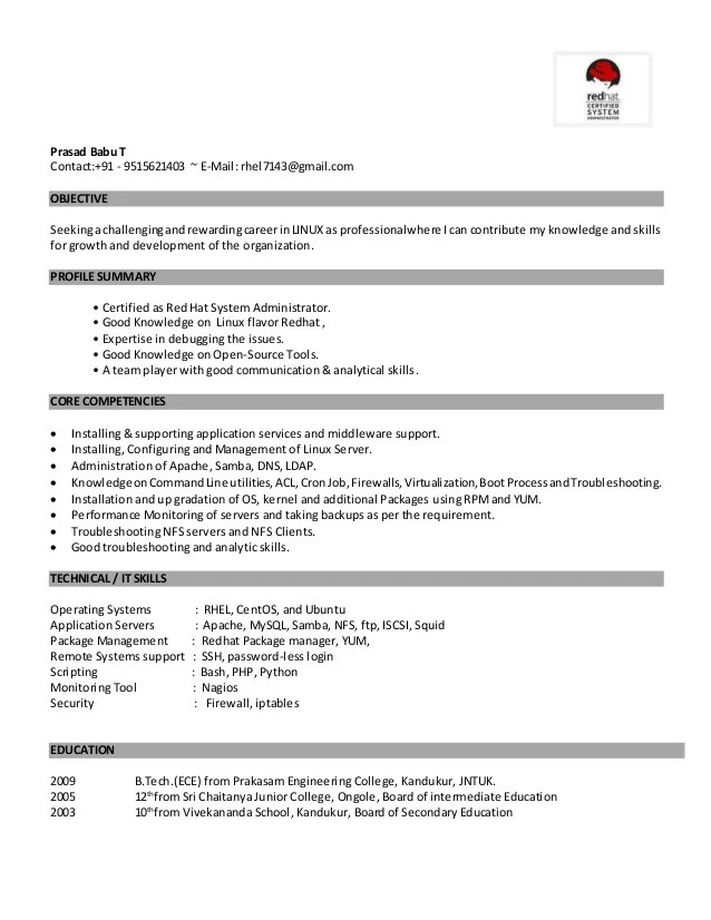 sample resume for system administrator in india