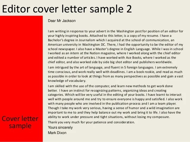 Sample cover letter to editor of newspaper
