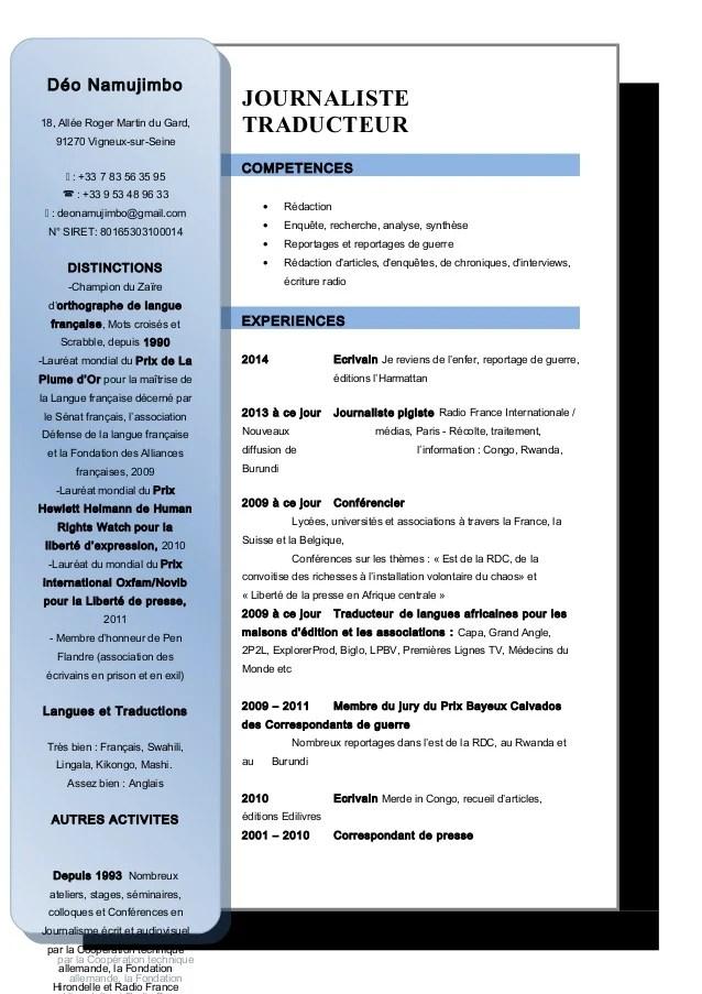 competences traducteur cv