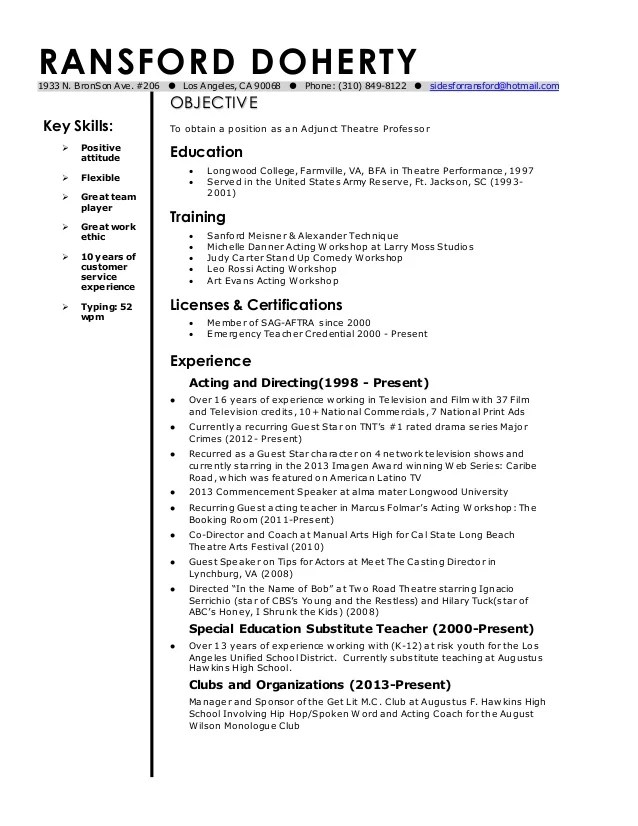 current resume template for an adjunct teacher