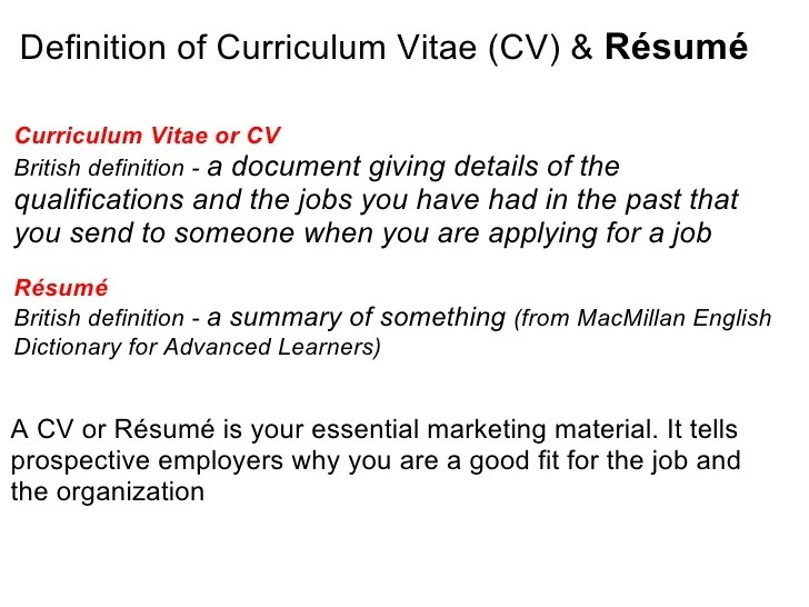 resume writing meaning