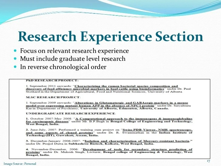 Curriculum Vitae Cv Samples And Writing Tips Research Experience Section Focus