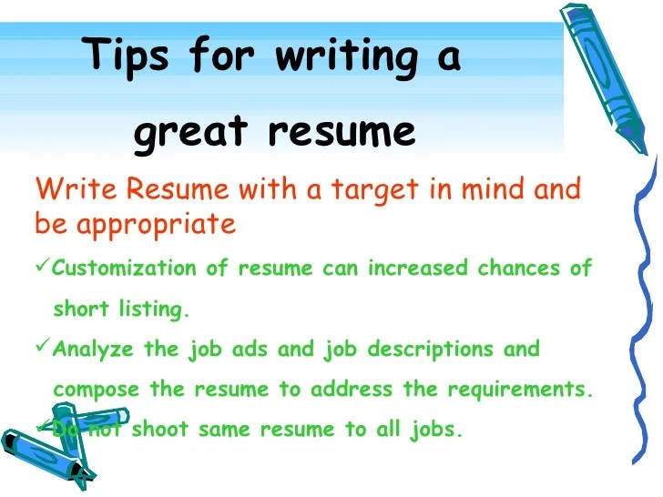 tips for writing a resumes - Onwebioinnovate