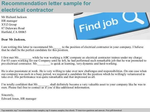 32 Hr Interview Questions And Answers For Freshers Electrical Contractor Recommendation Letter