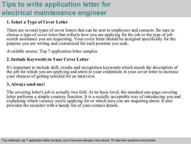 Sample Construction Letter Of Intent Electrical Maintenance Engineer Application Letter