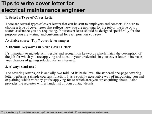 Cover Letters Careeronestop Electrical Maintenance Engineer Cover Letter