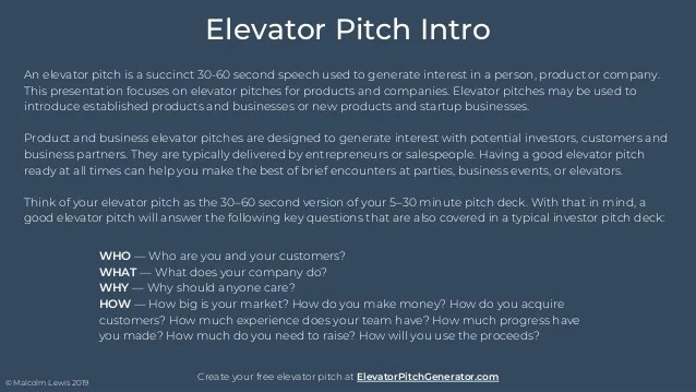example of elevator pitch
