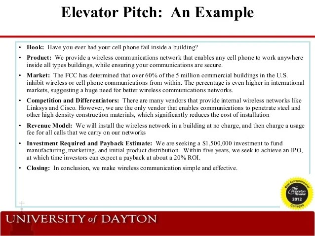 examples of elevator speeches - Leonescapers - elevator pitch template