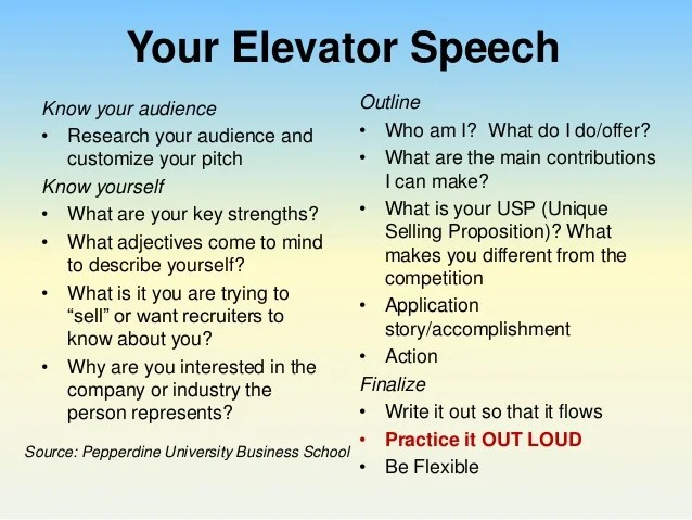 elevator speech for college students