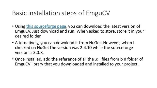 emgu cv installation