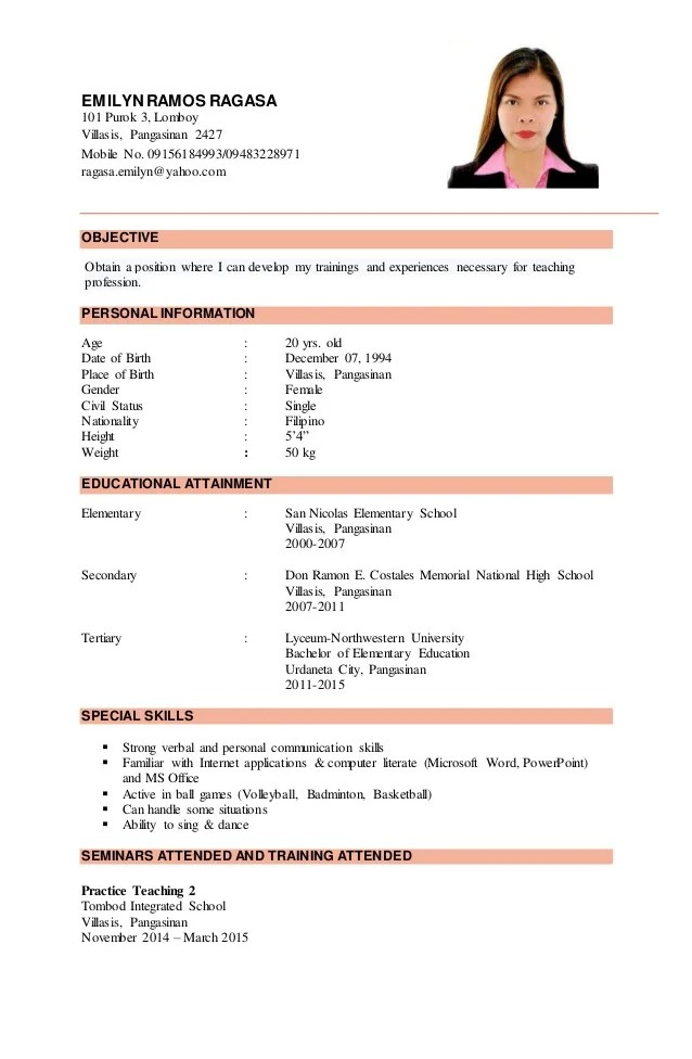 Sample Resume For The College Application Process Resume Samples Emilyn Ragasa