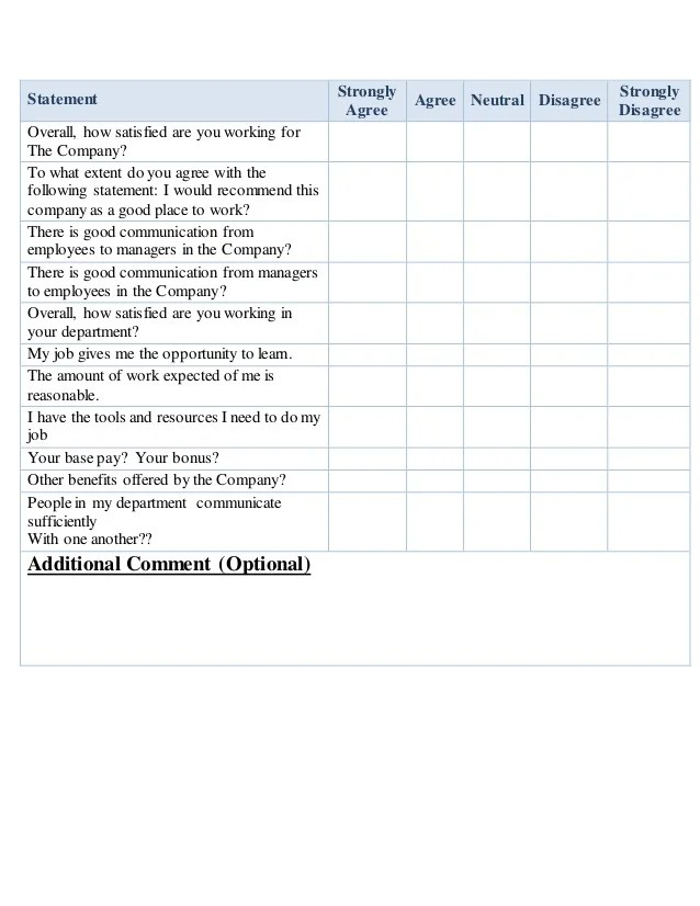 employment satisfaction survey questions - Gottayotti