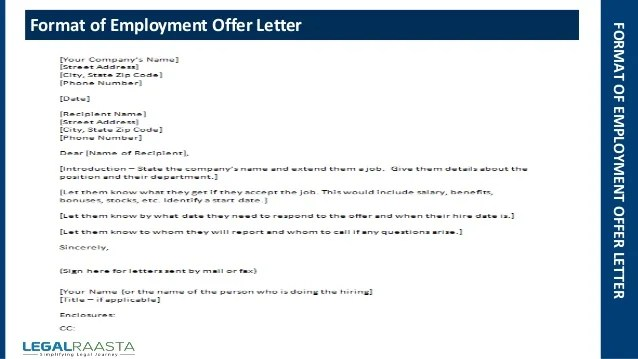 Example A Letter Of Request For Employment Contract To A Employment Offer Letter Format Template Legalraasta