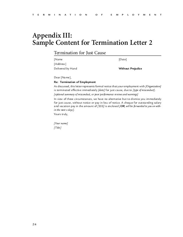 sample contract termination letter without cause - Onwebioinnovate - Employee Separation Letter