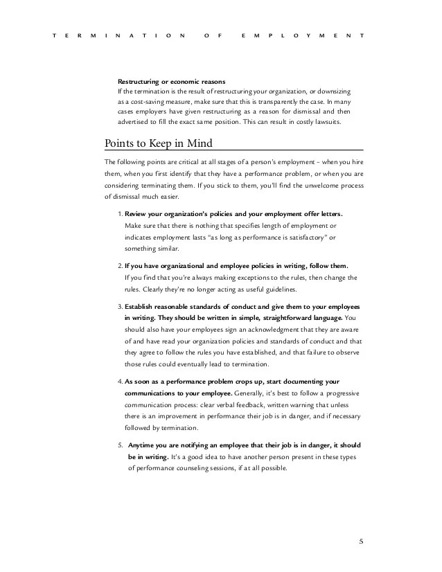 standard termination letter - Minimfagency