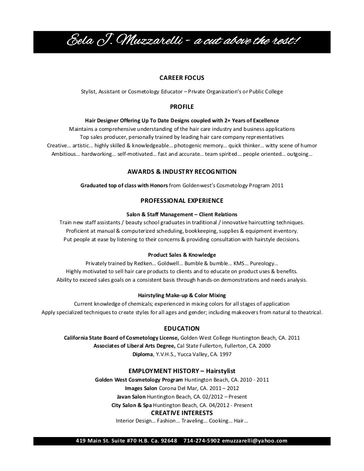 sample resume for cosmetologist job application letter of intent resume for cosmetologist