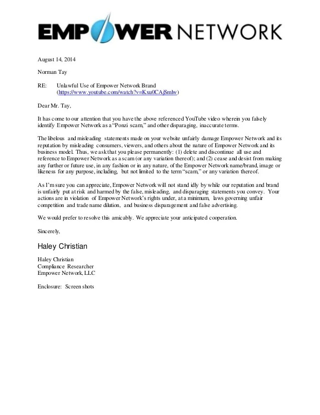Empower Network Compliance Letter