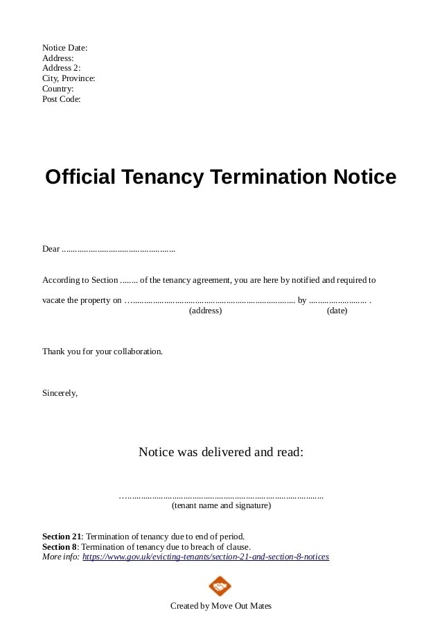 Landlord Tenant Forms Property Rental Agreement End Of Tenancy Letter Template From Landlord To Tenant