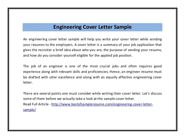 cover letter samples pdf - Onwebioinnovate - Engineering Cover Letter Format