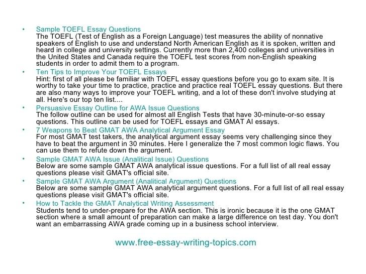 Write my gmat essay topic list