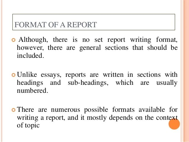 formats of reports - Josemulinohouse