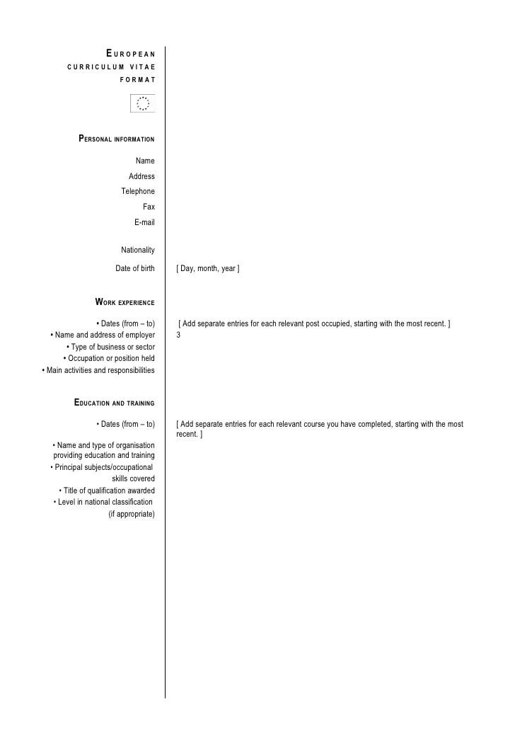 European Curriculum Vitae Format In English   Job Plan to Resume
