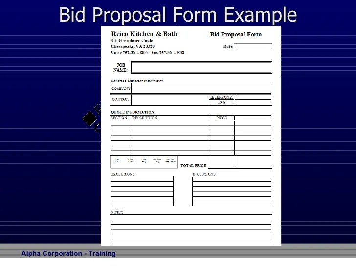 bid proposals templates - Jolivibramusic - Bidding Proposal Template