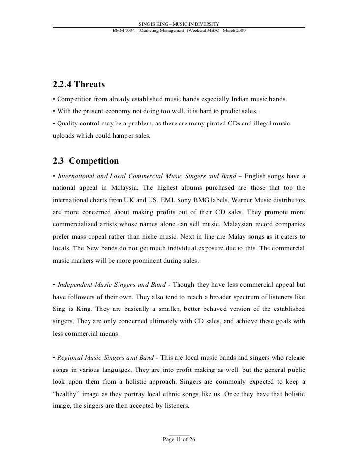 Sasin School Of Management >> Programs Overview Sample Marketing Plan Music Industry