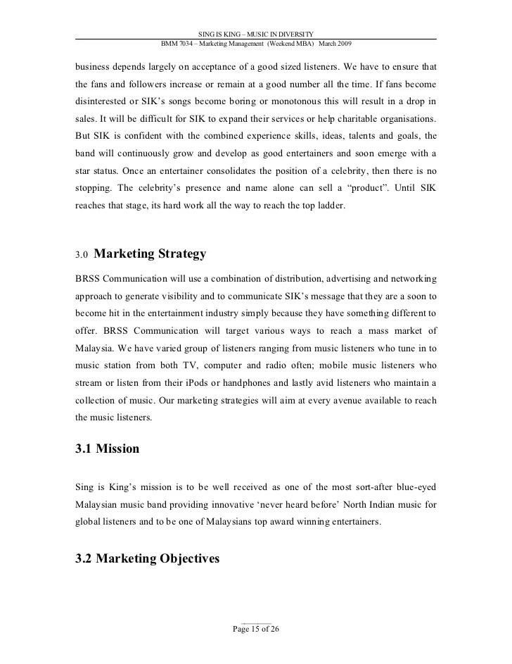 music marketing plan pdf - Ozilalmanoof - writing business marketing plan
