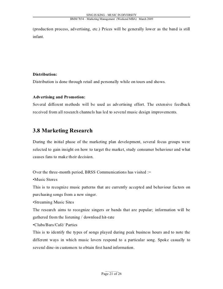 Marketing Letters Sample Letters Sample Marketing Plan Music Industry