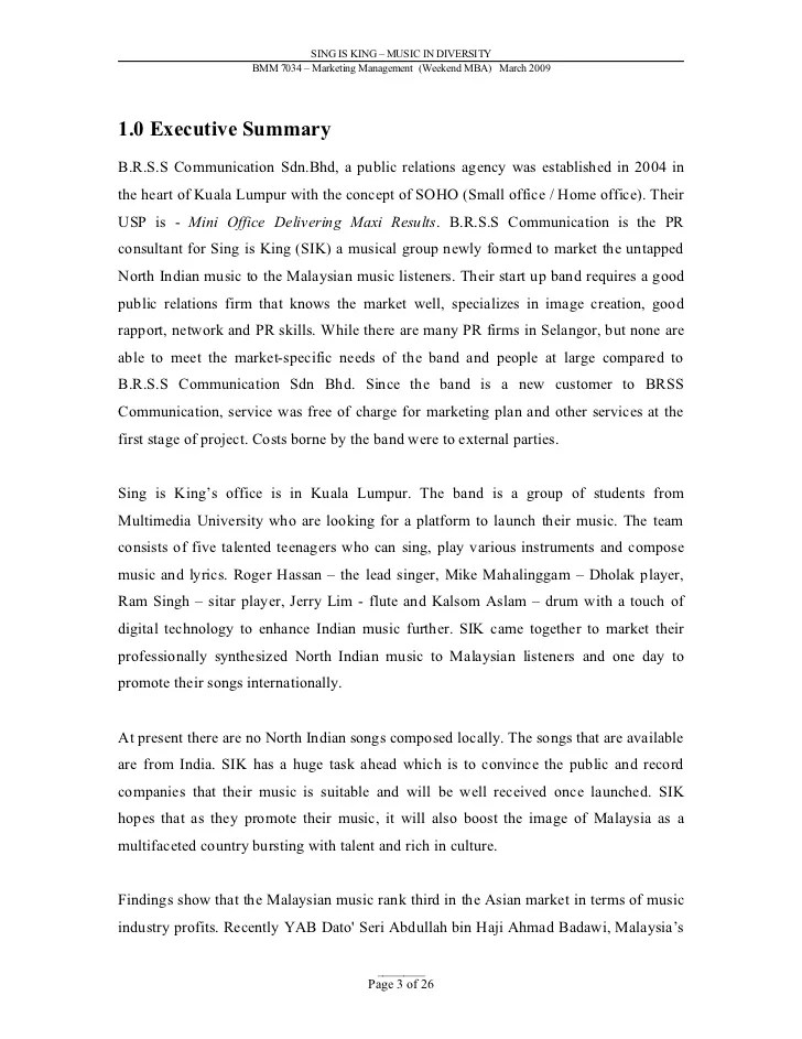 Executive Summary In Research Paper
