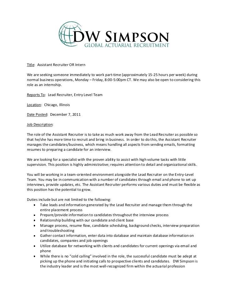 Technical Recruiter Job Description Technical Recruiting Entry Level Assistant Recruiter Or Intern Job Description