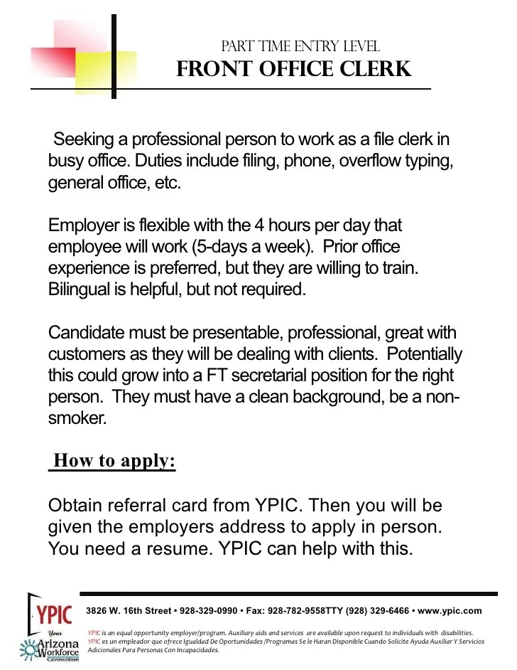 High School Resume Examples And Writing Tips Entry Level File Clerk Job Description