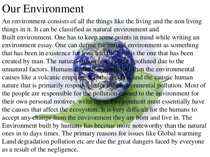 Essays about pollutions