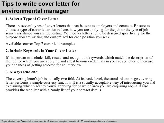 Resume Cover Letter Examples Get Free Sample Cover Letters Environmental Manager Cover Letter