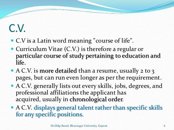resume biodata meaning