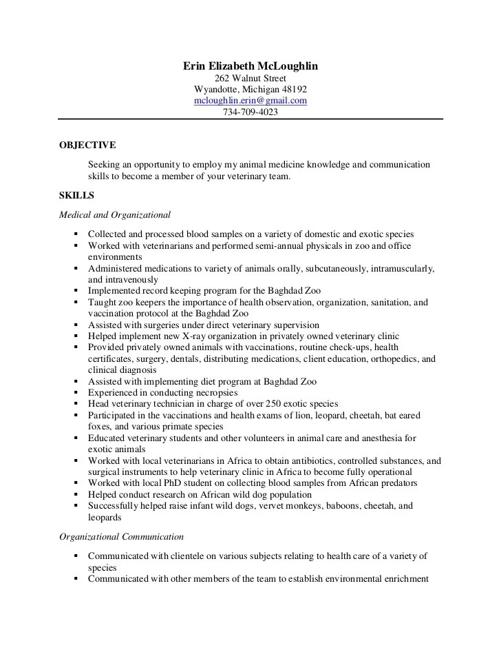 vet tech resume - Towerssconstruction