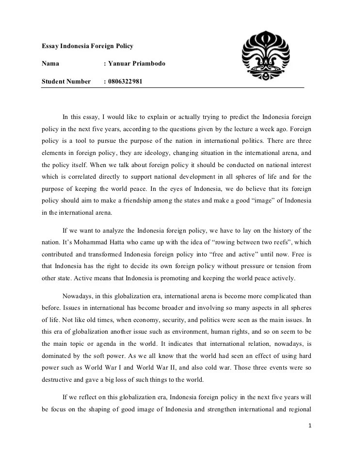 Essay Indonesia Foreign Policy