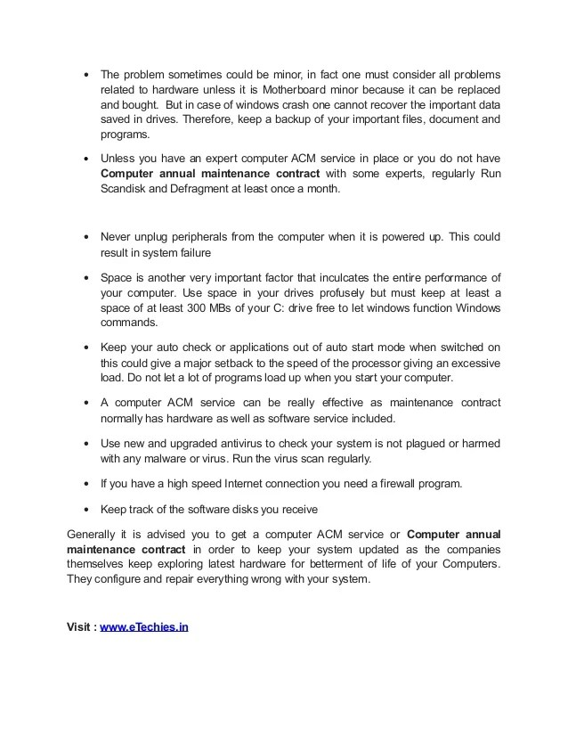 computer maintenance contract agreement sample pdf - Maggi