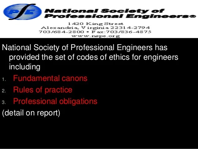 code of ethics for engineers