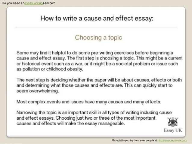 Help with writing a cause and effect essay