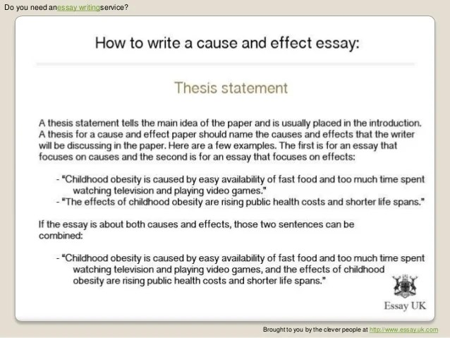 writing a thesis statement for a cause and effect essay Evaluation thesis statement template the thesis for this type of cause and effect thesis statement we are an essay writing service with professional.